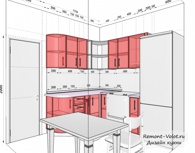Проект белой кухни 5,5 кв м с холодильником и обеденной зоной
