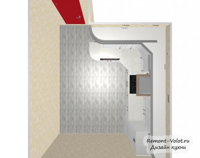 Проект белой кухни 12 кв м с холодильником. Классика