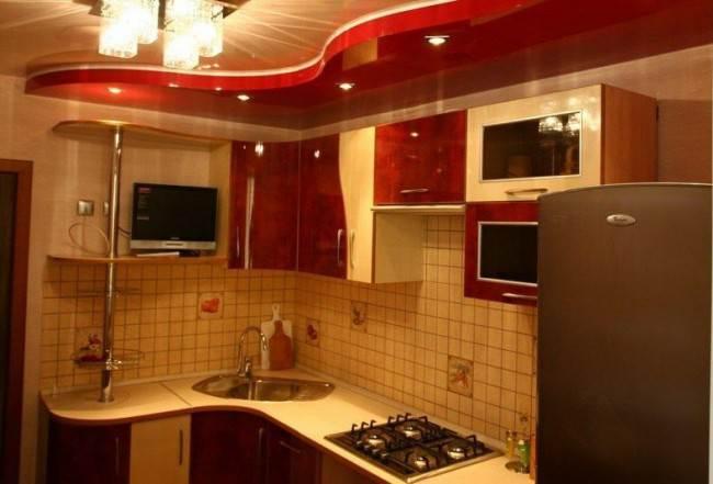 17 идей двухуровневого натяжного потолка для кухни