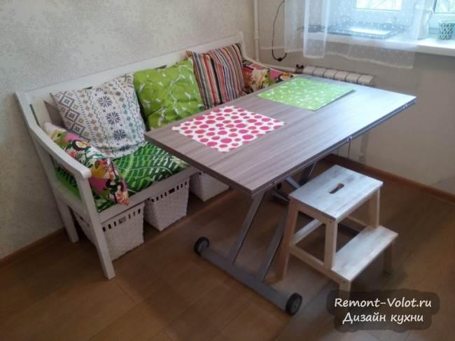 Стол-трансформер в обеденной зоне на кухне 8,6 кв. м