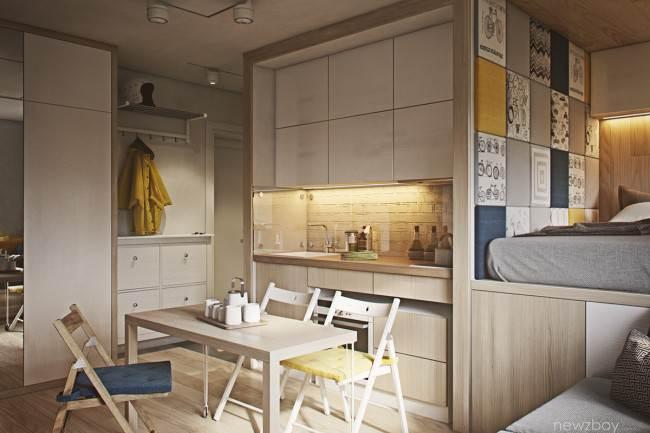 12 идей, как ограничить спальню от кухни в студии 30 кв. м