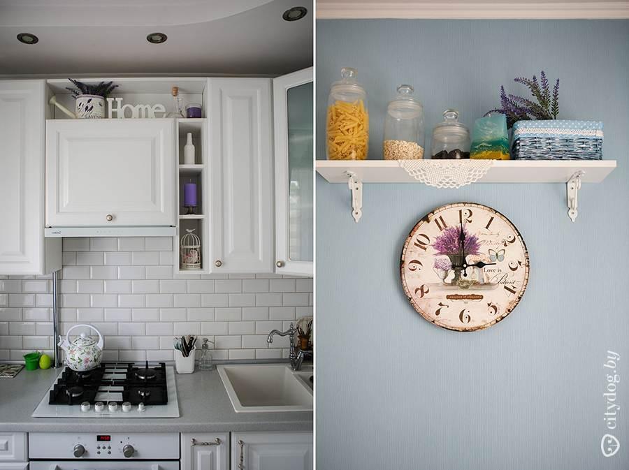 маленькая белая кухня 6 кв м с голубыми стенами в стиле прованс
