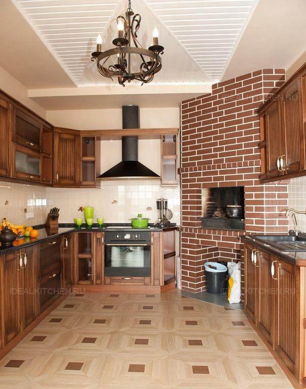 Дизайн кухонь с печками 152