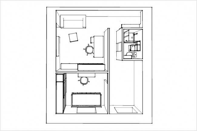 Молодежный дизайн кухни на 7,5 кв.м со складной обеденной зоной