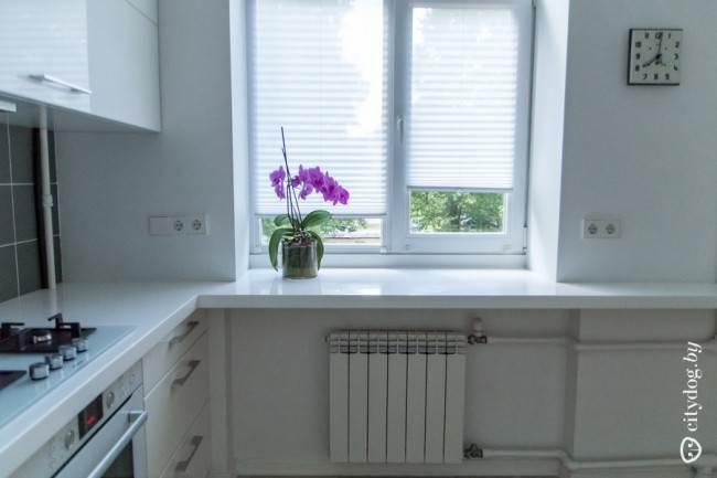 Белые шторы-плиссе в современном интерьере кухни на 6 кв. м