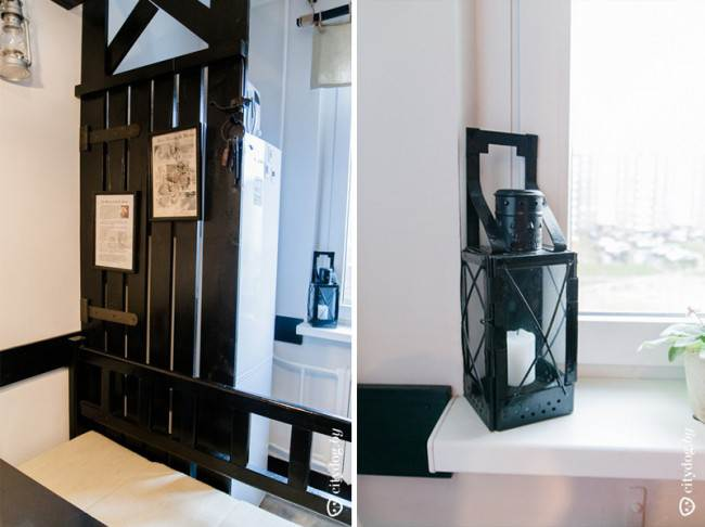 Дизайн черной кухни 10,8 кв.м без верхних шкафов в стиле английского паба