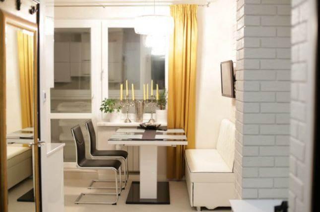 Дизайн кухни 12,9 кв. м со спальным местом в однокомнатной квартире