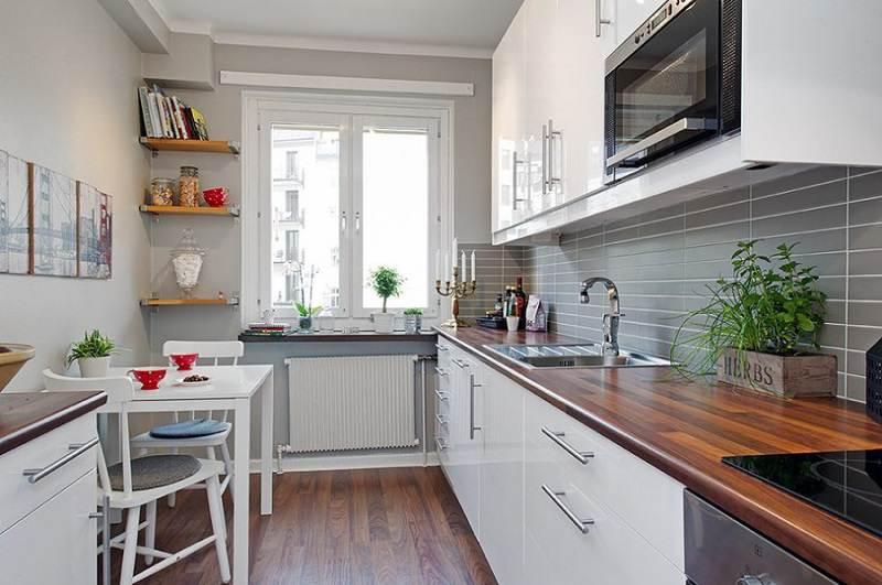 Дизайн кухни прямоугольная