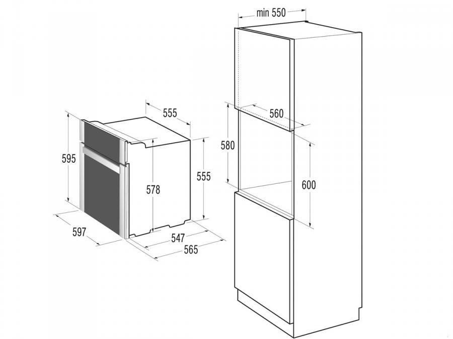 Схема встройки духовых шкафов 932