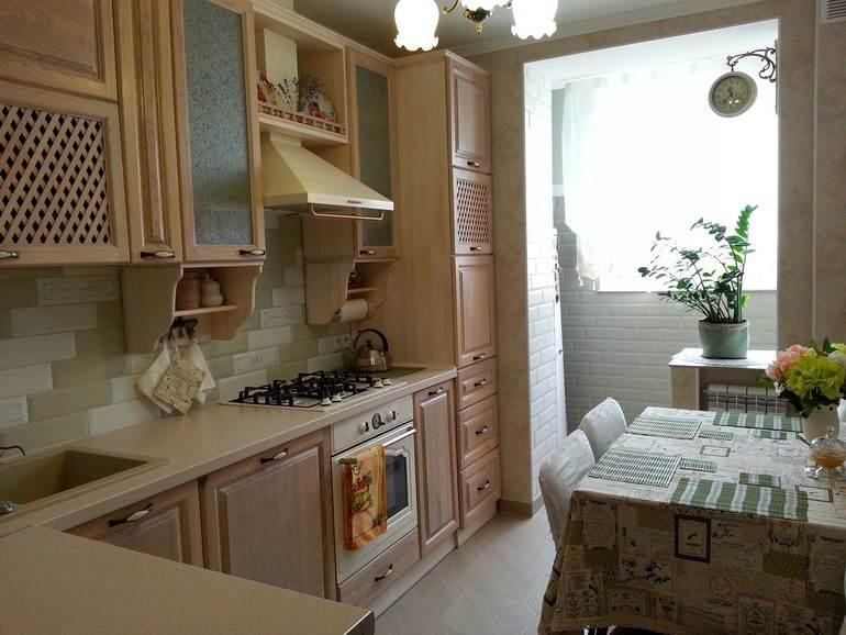 Дизайн классической кухни 8 кв.м с балконом (7 фото).