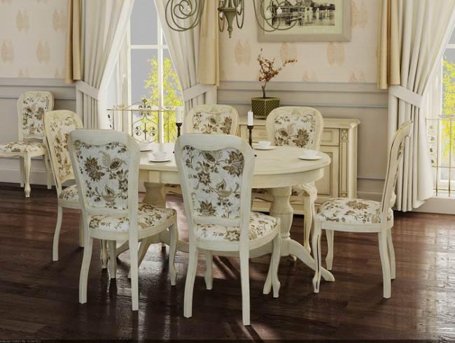 Овальный белый стол