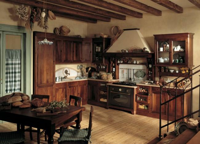 Кантри-кухня с каминной вытяжкой