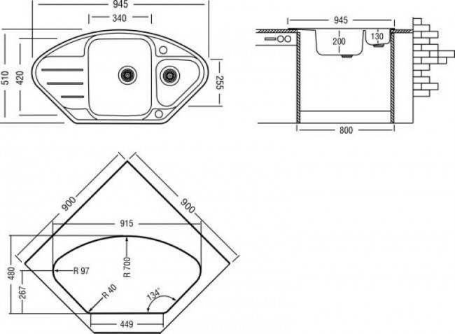 Угловая тумба под мойку для кухни размеры