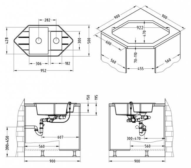 Схема угловой кухни с угловой мойкой с размерами
