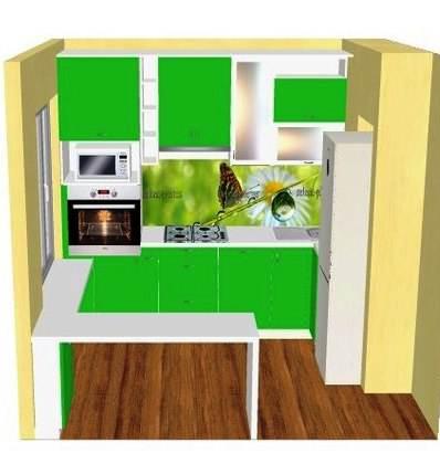 планировка кухни 6 кв.м с холодильником