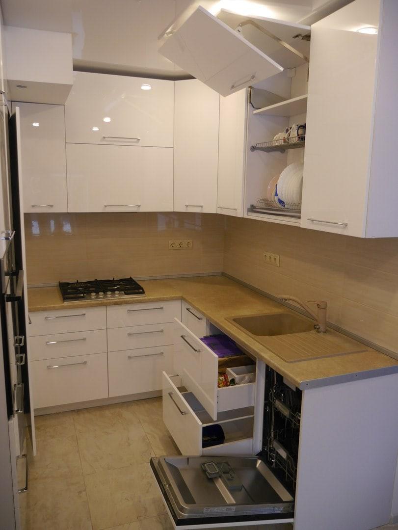 кухня буквой г с холодильником фото масштаб изображения