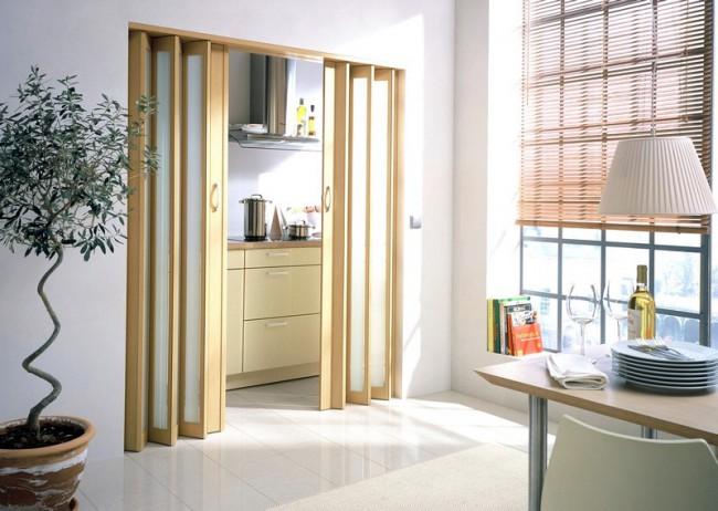 Раздвижная дверь-гармошка на кухне