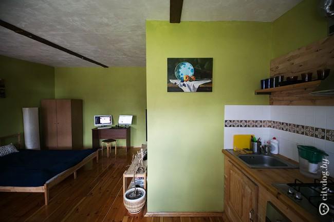 Кухня объединена с гостиной