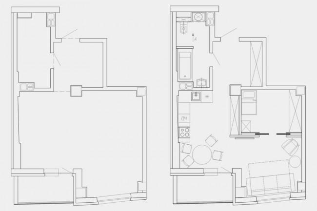 Перепланировка однокомнатной квартиры в двухкомнатную