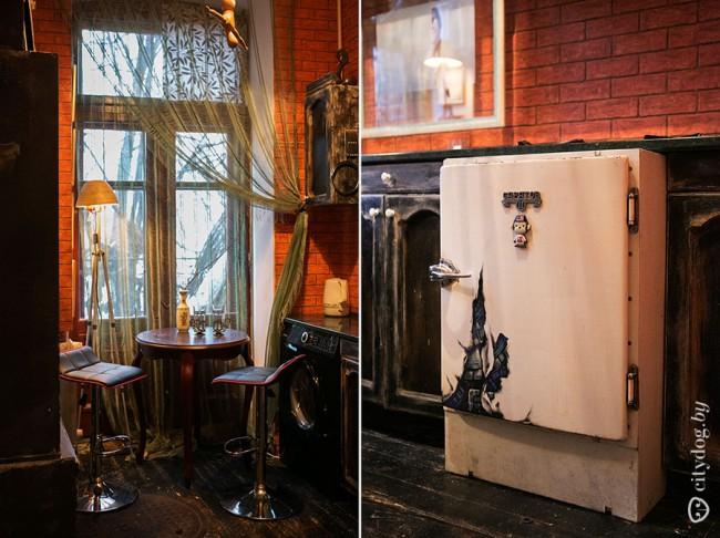 Дизайн черной кухни 7 кв.м в стиле лофт с настоящим люком в полу