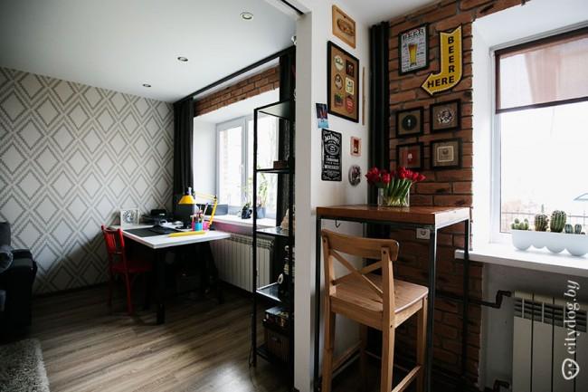 Дизайн двухцветной кухни 7 кв.м в стиле бара - нижний ряд венге, верхний желтый