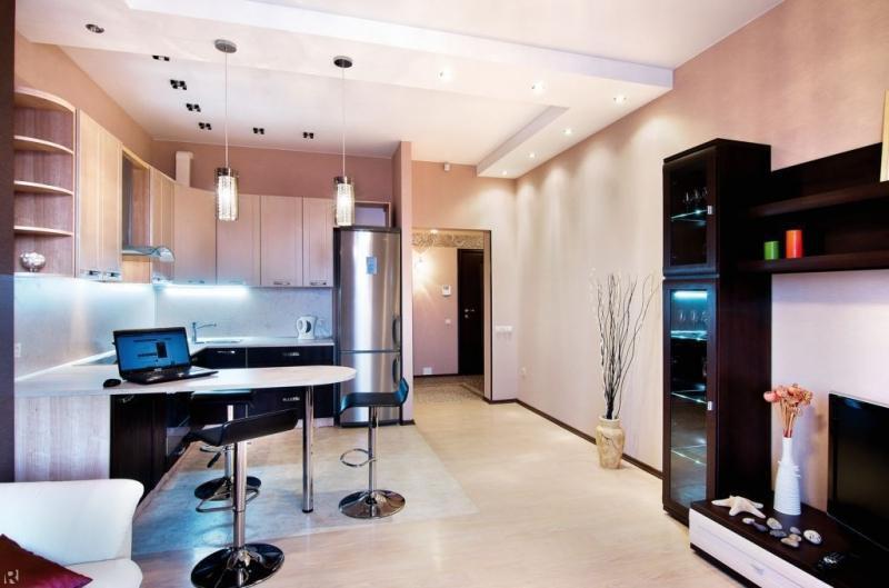 Кухня-гостиная квадратная дизайн интерьер
