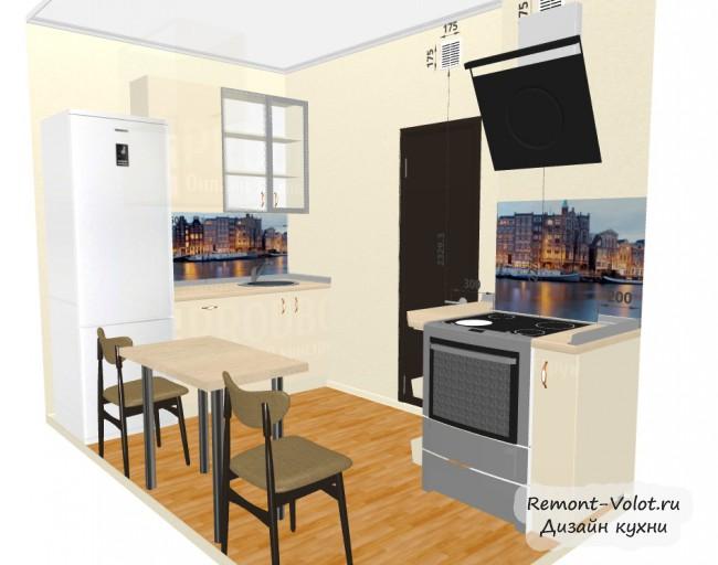Проект бежевой кухни 6,4 кв. с холодильником и обеденной зоной