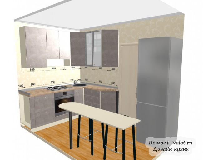 Проект серой кухни 5,7 кв. с холодильником и барной стойкой