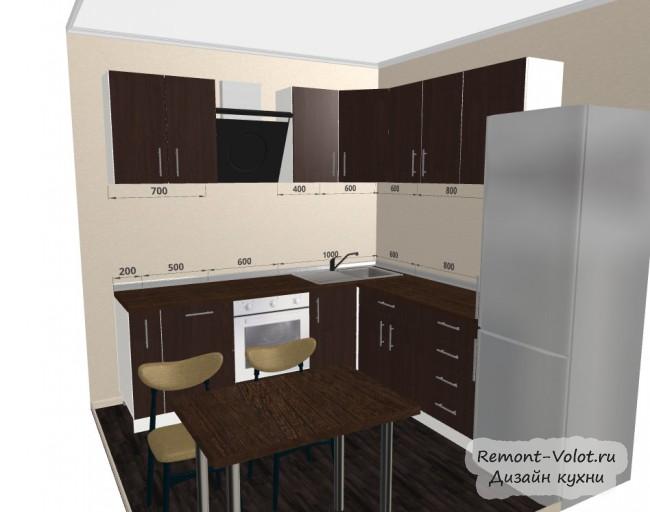 Проект кухни 6,25 кв. с коричневыми фасадами