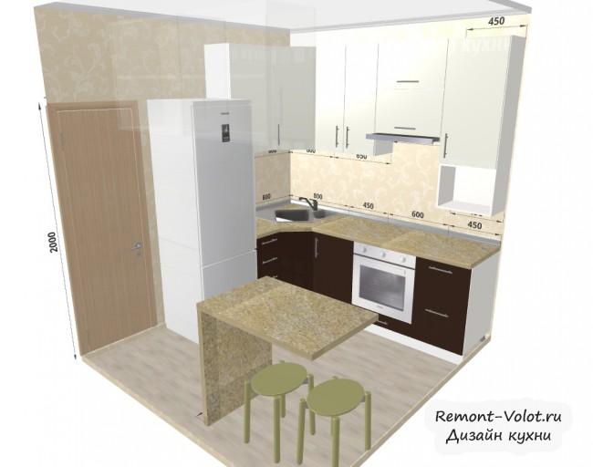 Проект угловой кухни 5,7 кв. с холодильником и микроволновкой