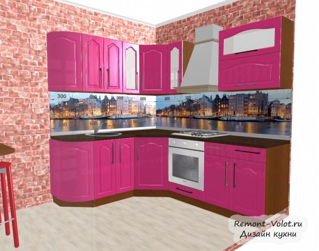 Проект розовой кухни 6,8 кв в классическом стиле со стенами под кирпич
