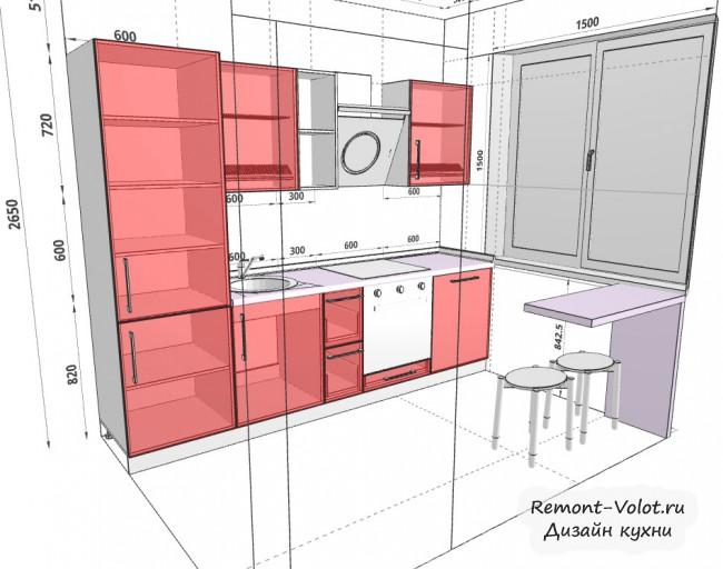 Планировщик кухни в 3D с размерами и расстановкой мебели