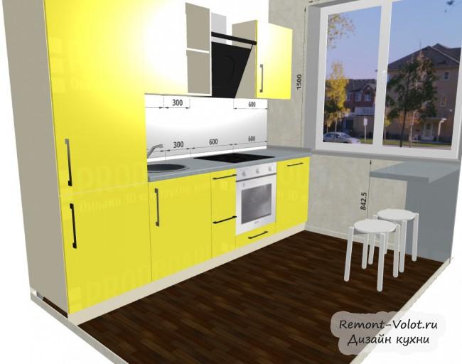 Проект желтой кухни 5,4 кв. со встроенными холодильником и ПММ
