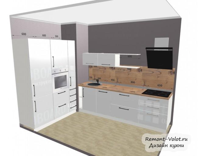 Проект белой кухни 6,7 кв. с аркой и без обеденной зоны