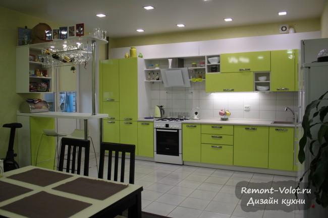 Дизайн большой кухни 27 кв. м цвета