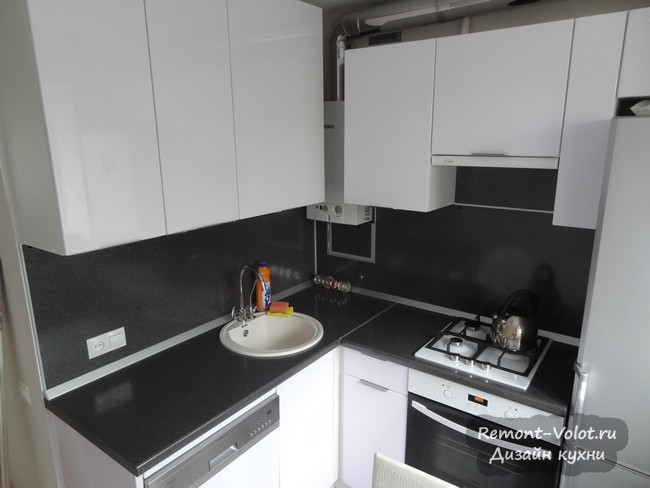 Кухня 6 м - как уместить холодильник, газовую колонку и посудомоечную машину (60 см)