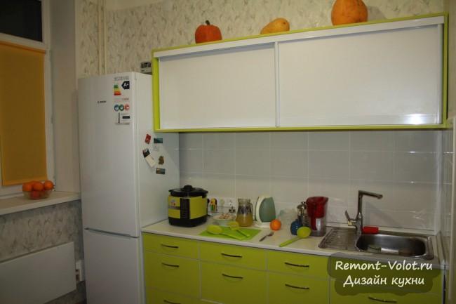Зеленая кухня 8 кв м без плиты, сделанная самостоятельно