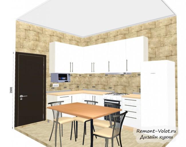 Проект белой угловой кухни 7,8 кв. м с холодильником и столом