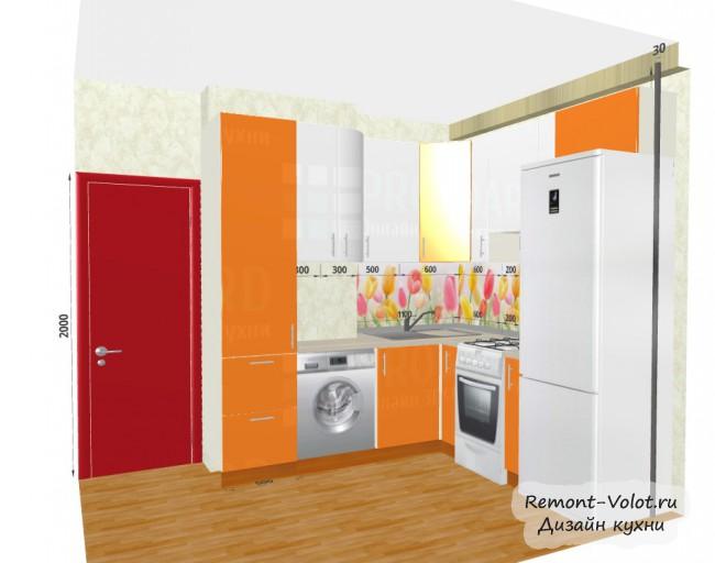 Проект оранжевой кухни 6,4 кв. м с холодильником и стиральной машиной