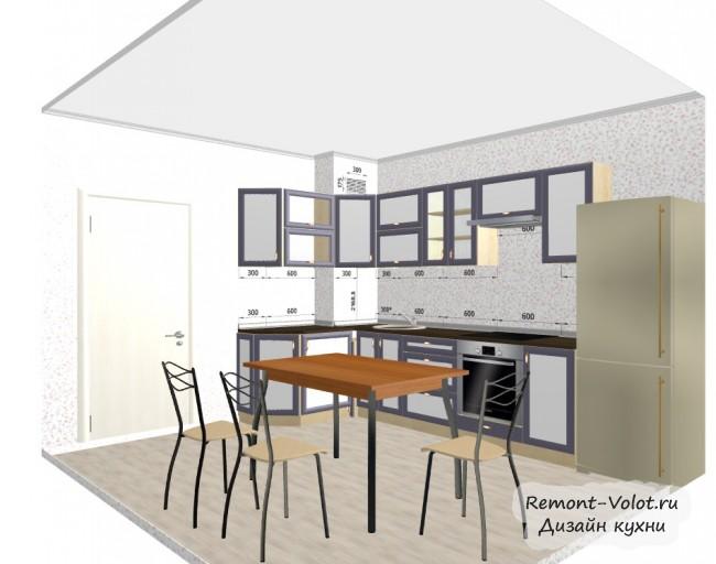 Проект угловой кухни 10,8 кв. м с вент. шахтой в углу