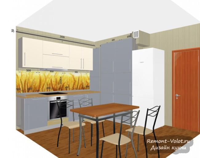 Проект угловой серой кухни 10 кв. м с двумя пеналами и скинали