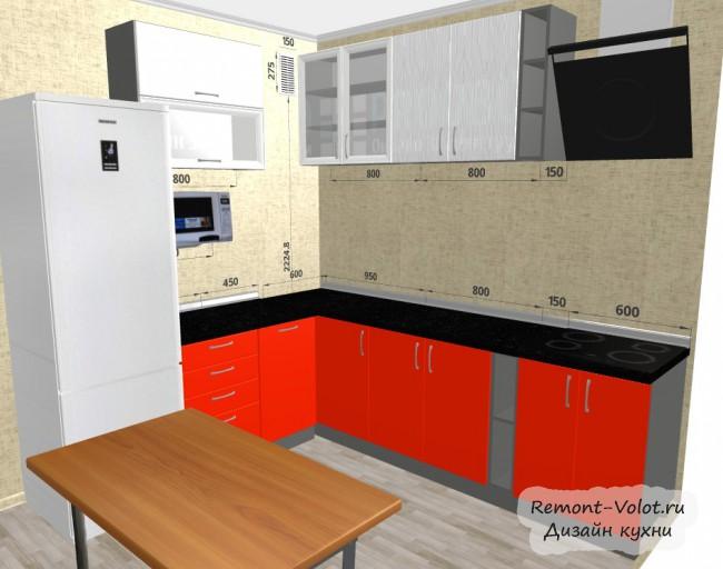 Проект угловой красной кухни 8 кв. м с холодильником и столом