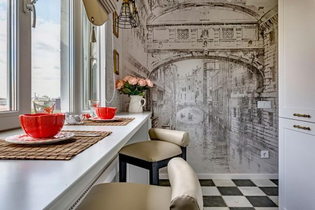 25 идей, как расширить пространство кухни с помощью фотообоев