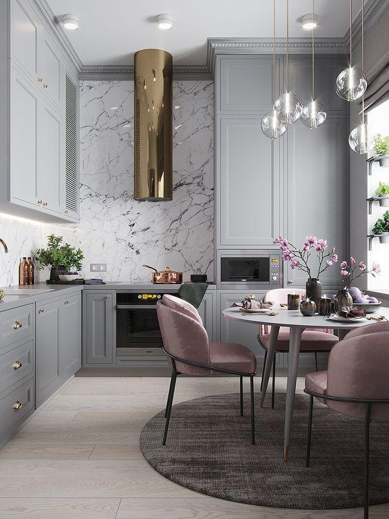 Интерьер кухни-гостиной в стиле современной классики