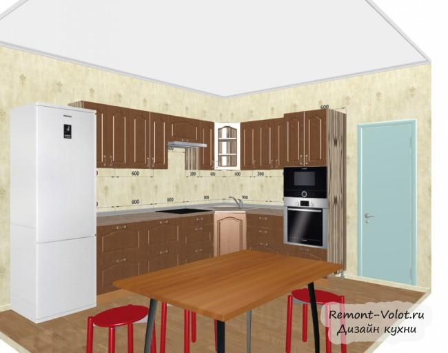 Проект угловой классической кухни под дерево 11,2 кв. м