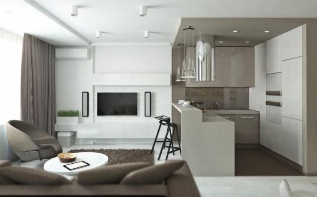 Разное напольное покрытие в кухне и гостевой визуально разграничивает пространство.
