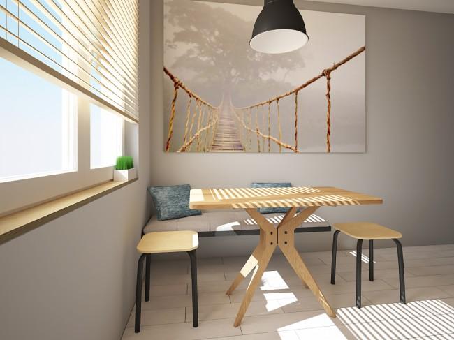 Дизайн светлой кухни 7 кв м, сделанной полностью из фанеры