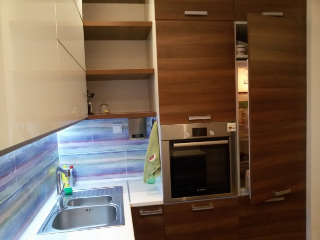 Дизайн современной кухни-гостиной 40 кв м с фасадами из стекла и пеналами с техникой