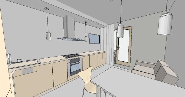 Вопрос: как разместить посудомойку, духовой шкаф и ТВ на кухне?