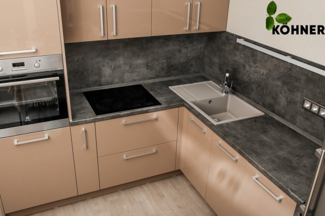 Дизайн угловой кухни 10 кв м кофейного цвета с пеналом для духового шкафа